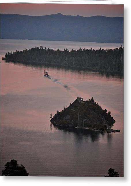 Boating Lake Greeting Cards - Tahoe Queen steams out of Emerald Bay Greeting Card by Matt MacMillan