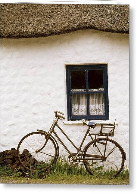 Cummins Greeting Cards - Tahtched Cottage And Bike Greeting Card by Richard Cummins