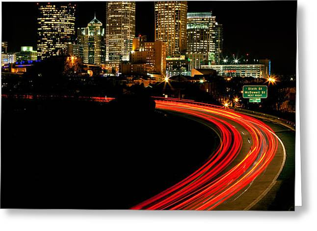 Taillights toward Charlotte skyline Greeting Card by Patrick Schneider