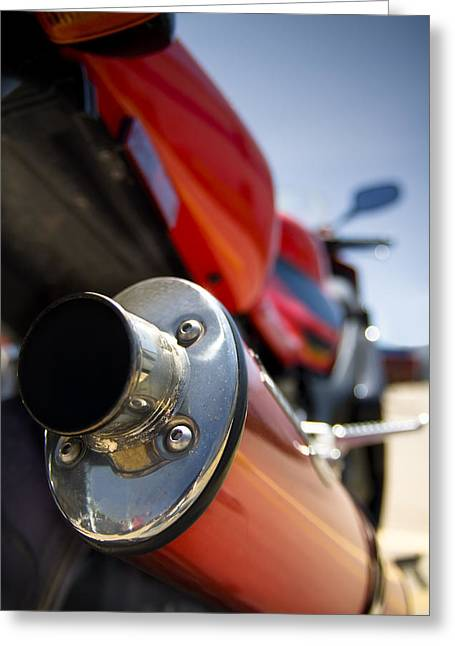 Superbikes Greeting Cards - Tailpipe Greeting Card by Ricky Barnard