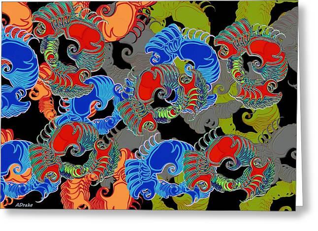 Artsic Greeting Cards - Tainted Shrimp Greeting Card by Alec Drake