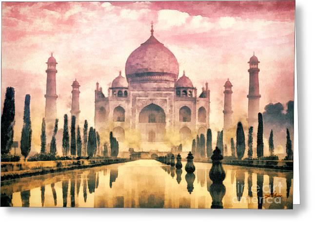 Treasures Paintings Greeting Cards - Taj Mahal Greeting Card by Mo T