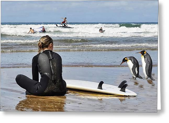 Take A Stroll Along The Beach Greeting Card by Alex Hardie