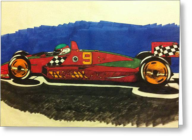 Indy Car Greeting Cards - Take Another Look Greeting Card by J D