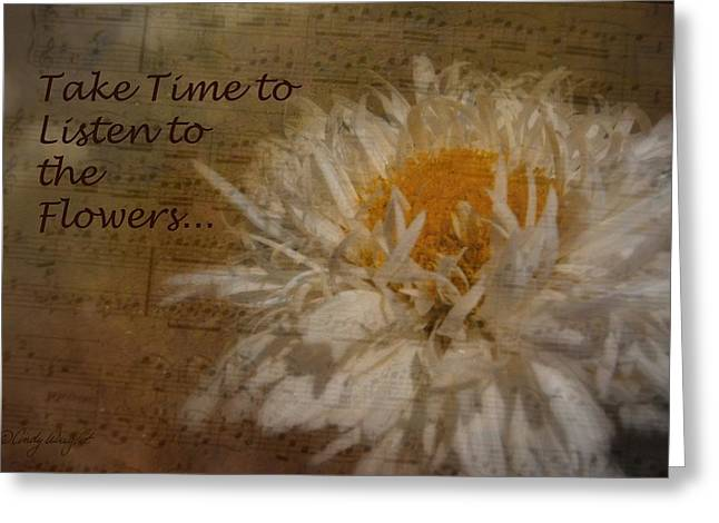 Take Time Greeting Card by Cindy Wright