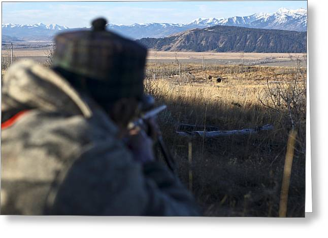 Controversy Greeting Cards - Taking Aim During A Bison Hunt Greeting Card by Drew Rush