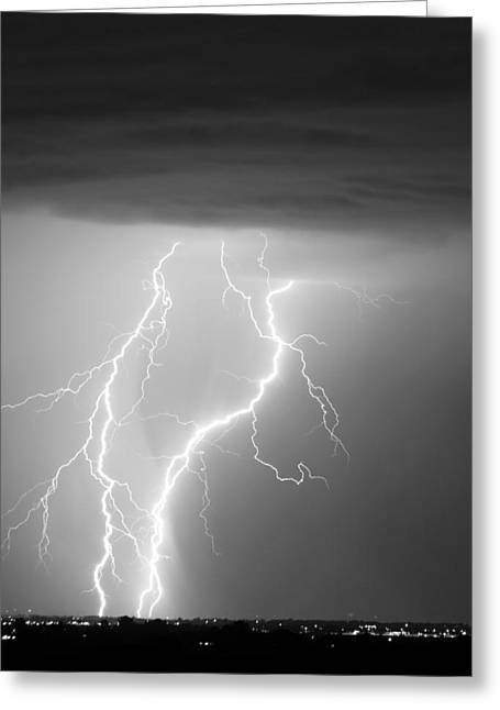 Images Lightning Greeting Cards - Taking It To The Ground BW Greeting Card by James BO  Insogna
