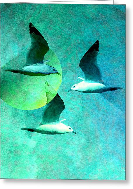 Tern Digital Art Greeting Cards - Taking Terns Greeting Card by Michelle Wiarda