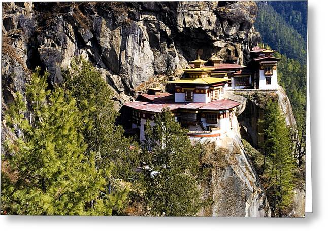 Asian Tiger Greeting Cards - Taktsang Monastery  Greeting Card by Fabrizio Troiani