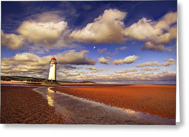 Lighthouse Greeting Cards - Talacre Lighthouse Greeting Card by Mal Bray