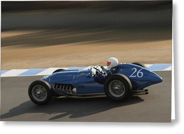 Indy Car Greeting Cards - Talbot Lago T26C On Track Greeting Card by Curt Johnson