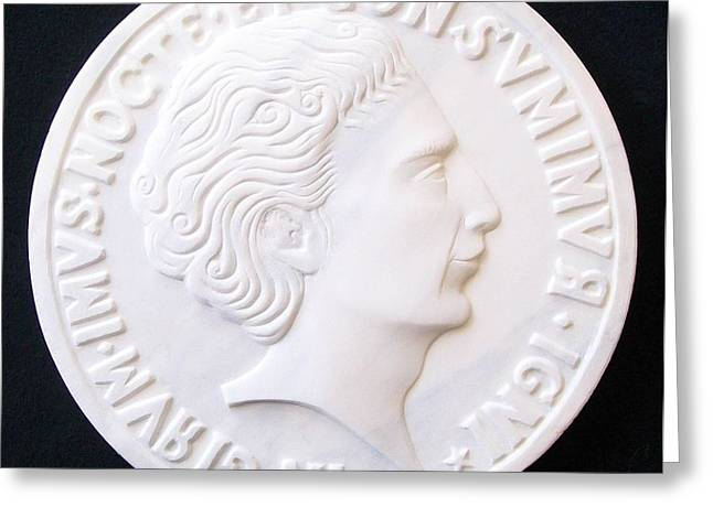 Talent of Stefano Bollani as Byzantine Emperor IN GIRUM IMUS NOCTE ET CONSUMIMUR IGNI Greeting Card by Marino Ceccarelli Sculptor