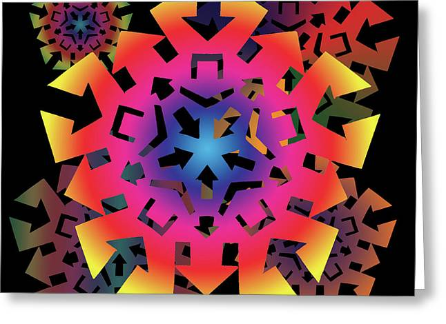 Geometric Abstraction Mixed Media Greeting Cards - Talisman of Direction Greeting Card by Eric Edelman