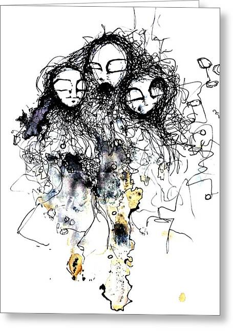 Pen And Ink Drawing Mixed Media Greeting Cards - Talking To Yourself Again Greeting Card by Mark M  Mellon