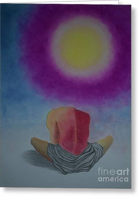 Talking With Sun Greeting Card by Jalal Gilani