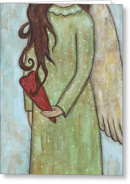 Acrylic Pastels Greeting Cards - Tall Angel with Heart Greeting Card by Rain Ririn
