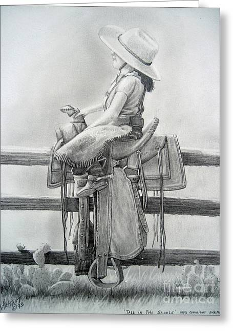 Tall In The Saddle Greeting Card by Rick Mittelstedt