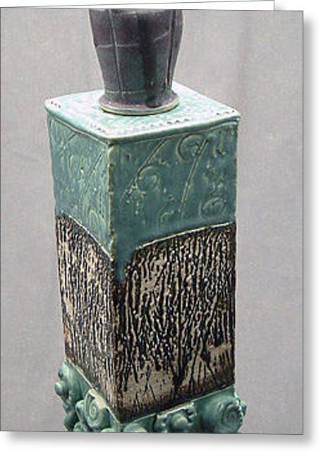 Ceramic Ceramics Greeting Cards - Tall Jar with Vase Lid Greeting Card by Donald Burroughs
