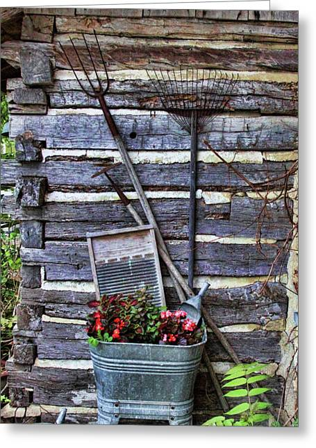 Sprinkling Can Greeting Cards - Tall Log Cabin and Garden Tools Greeting Card by Linda Phelps