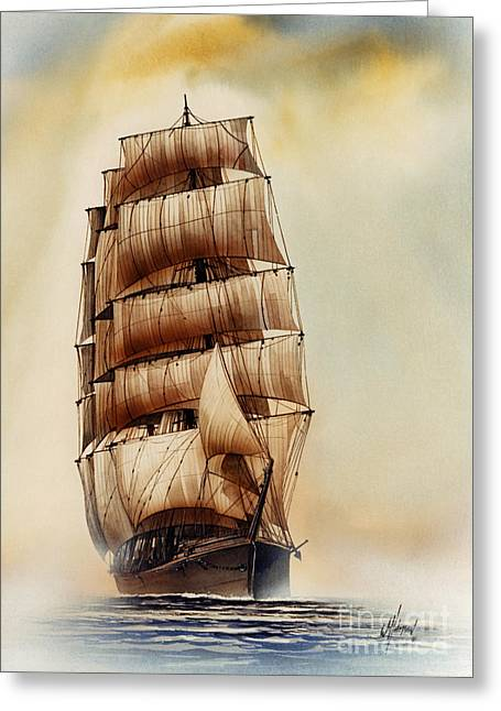 Maritime Print Greeting Cards - Tall Ship CARRADALE Greeting Card by James Williamson