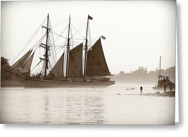 Seacape Greeting Cards - Tall Ship Coming into Portsmouth Greeting Card by Debbra Obertanec