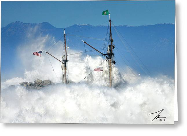 Ventura California Greeting Cards - Tall Ship entering Ventura Harbor Greeting Card by Steve Munch