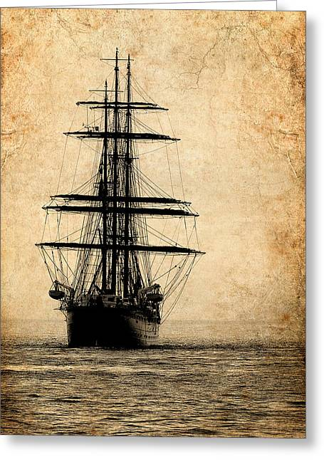 Schooner Greeting Cards - Tall Ship Greeting Card by Fred LeBlanc
