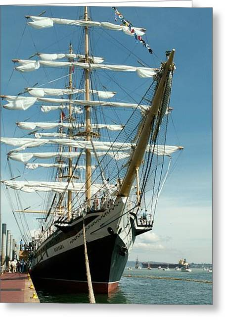 Blue Green Wave Greeting Cards - Tall Ship Greeting Card by Jim Moore