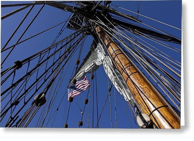 Lady Washington Greeting Cards - Tall Ship Rigging Greeting Card by Garry Gay