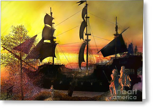 Tall Ships Mixed Media Greeting Cards - Tall Ship Greeting Card by Rosy Hall
