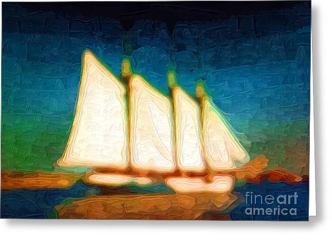 Tall Ships Greeting Cards - Tall Ship Sailing Greeting Card by Deborah MacQuarrie
