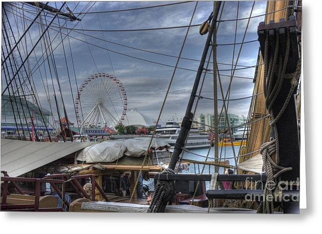 Tall Ships Greeting Cards - Tall Ships at Navy Pier Greeting Card by David Bearden