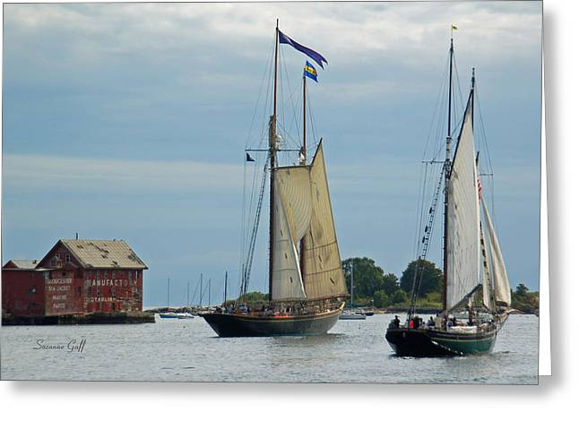 Tall Ships Greeting Cards - Tall Ships Sailing II Greeting Card by Suzanne Gaff