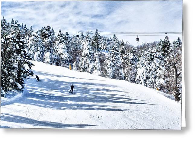 Snow Boarder Greeting Cards - Tamarack  Winter Fun Greeting Card by Linda Pulvermacher