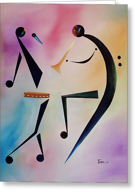 African-american Paintings Greeting Cards - Tambourine Jam Greeting Card by Ikahl Beckford