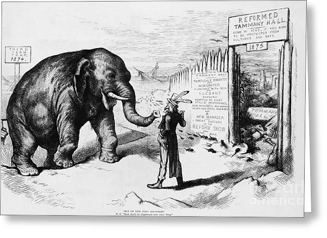 Political Satire Greeting Cards - Tammany Hall Political Humor Greeting Card by Photo Researchers