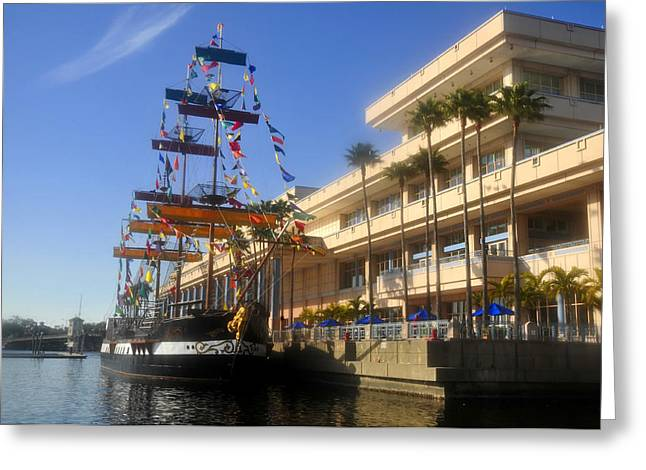 Pirate Ships Greeting Cards - Tampa Bay Convention Center Greeting Card by David Lee Thompson