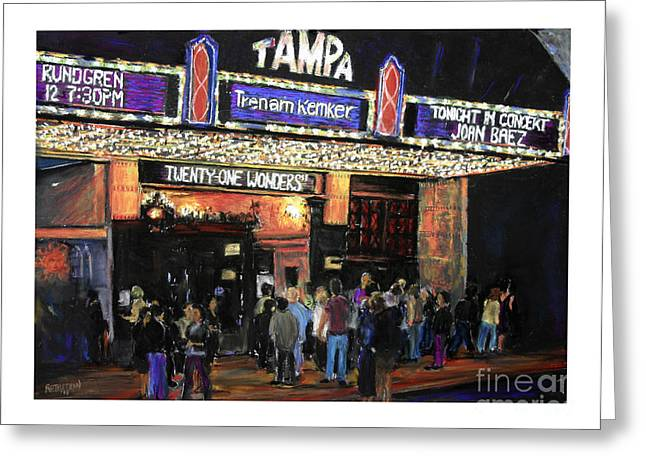 Concerts Pastels Greeting Cards - Tampa Theatre Night Lights Greeting Card by Barry Rothstein