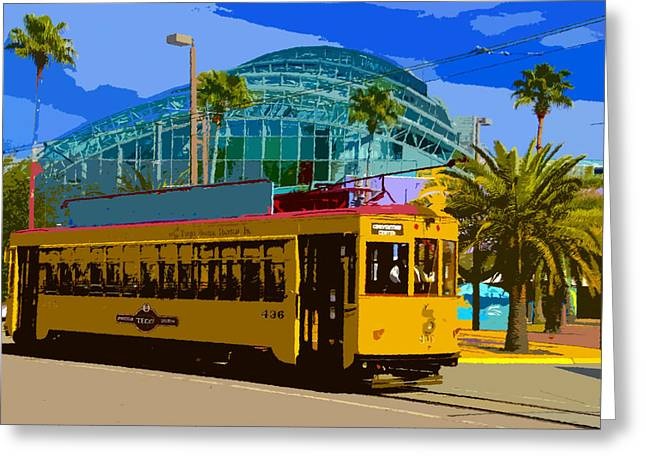 Tampa Bay Florida Greeting Cards - Tampa Trolley Greeting Card by David Lee Thompson