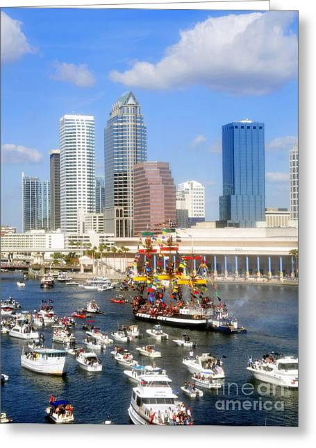 Tampa Bay Florida Greeting Cards - Tampas Flag Ship Greeting Card by David Lee Thompson