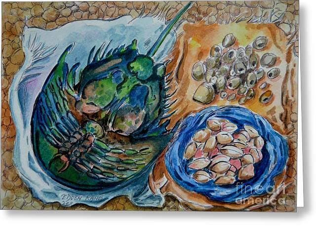 Tamu Greeting Cards - Tamu  Horseshoe crab and clams Greeting Card by Edoen Kang