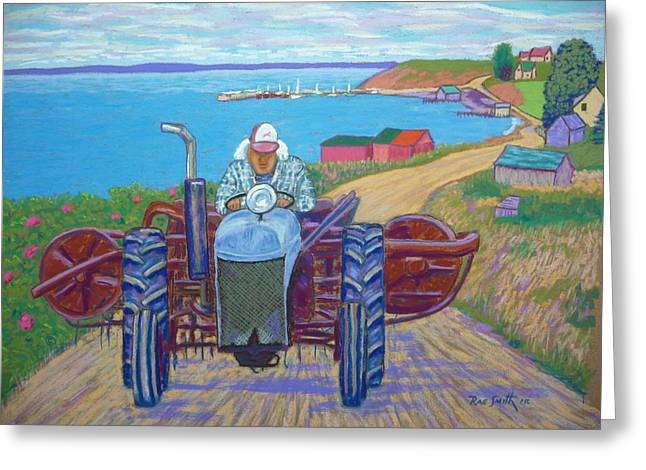Farmer Pastels Greeting Cards - Tancook Farmer Greeting Card by Rae  Smith