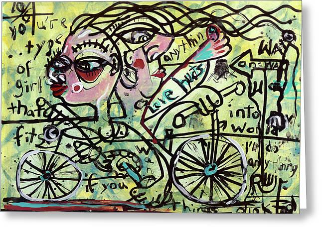Neo-expressionism Greeting Cards - Tandem Greeting Card by Robert Wolverton Jr
