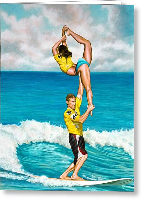Surfing Contest Greeting Cards - Tandem Surfing Greeting Card by Douglas Fincham