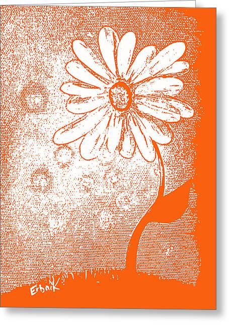 Abstract Digital Paintings Greeting Cards - Tangerine Daisy by Shawna Erback Greeting Card by Shawna Erback
