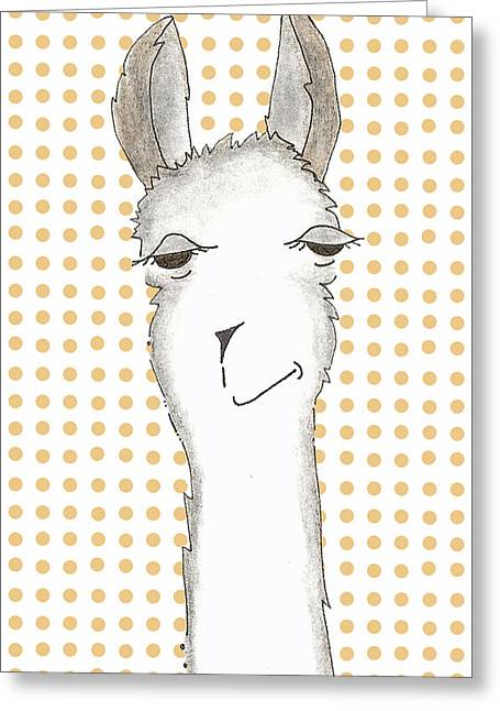Llama Drawings Greeting Cards - Tangerine Greeting Card by Jenny Valdez