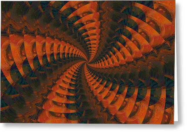 Tangerine Greeting Cards - Tangerine Whirls Greeting Card by Bonnie Bruno