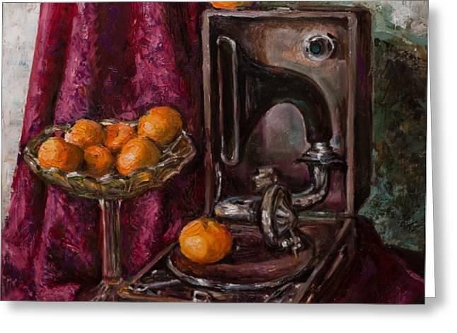 Tangerines Greeting Card by Boris Filinov