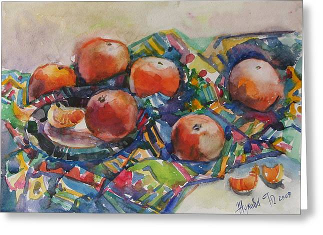 Still Life With Tangerines Paintings Greeting Cards - Tangerines Greeting Card by Juliya Zhukova