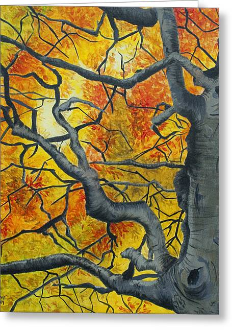 Gnarly Paintings Greeting Cards - Tangled Greeting Card by Jaime Haney